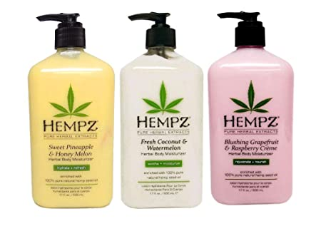 HEMPZ FRUIT COCKTAIL Bundle 1-Blushing Grapefruit Raspberry Creme 17oz 1-Sweet Pineapple Honey Melon Herbal Body Moisturizer 17oz 1-Fresh Coconut Watermelon Body Moisturizer 17oz