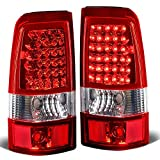 Replacement for Chevy Silverado/GMC Sierra Fleetside Pair of LED Tail Brake Lights Chrome Housing Red Lens)