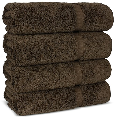 Luxury Premium long-stable Hotel & Spa Turkish Cotton 4-Piece Eco-Friendly Bath Towel Set (Cocoa) by Chakir Turkish Linens (Image #4)