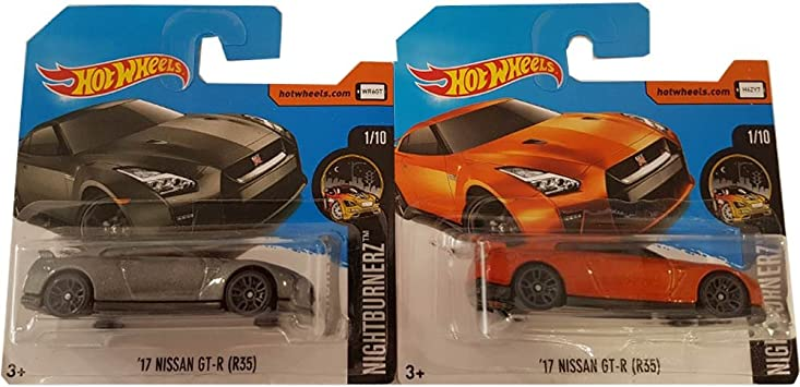 Hot Wheels Pack 2 Coches Nissan GT-R 17 Naranja y Negro 1/10 ...