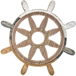 Mission Gallery Nautical Rustic Ship's Wheel Wood Wall Decor Distressed 15 inches
