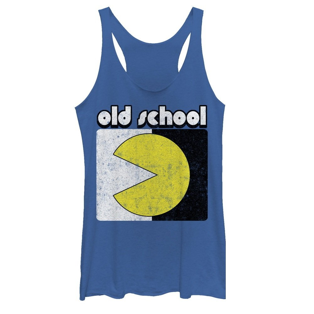 Pac-Man Women's Old School Royal Blue Heather Racerback Tank Top