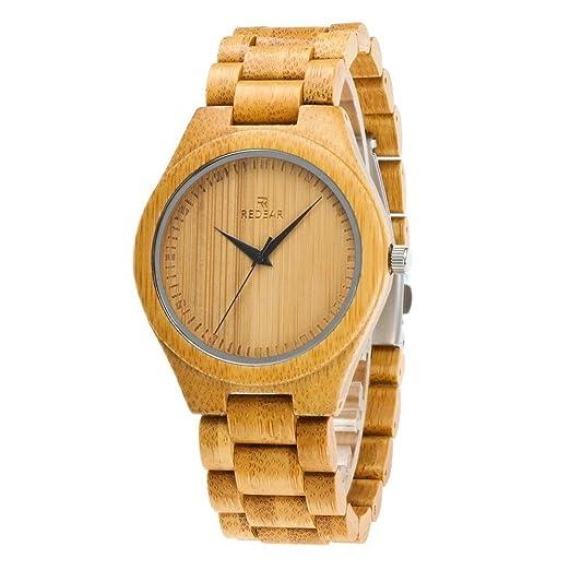 REDEAR Reloj de pulsera de madera hecho a mano con los relojes casuales del movimiento del cuarzo de Japón simple , male: Amazon.es: Relojes