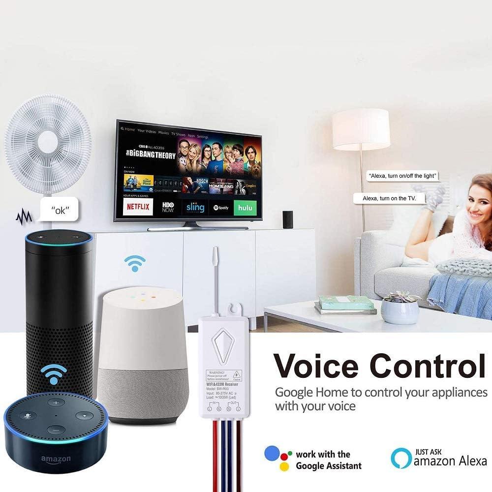 Thinkbee Wasserdicht Kabelloser Schalter Arbeitet mit  Alexa und Google Home Timing-Funktion Stimmenkontrolle Steuern Sie Ihre Fixtures von /Überall Smart Wifi Lichtschalter Funkschalter Set