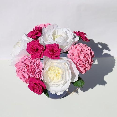 11 paper flowers mixed floral bouquet amazon handmade 11 paper flowers mixed floral bouquet mightylinksfo