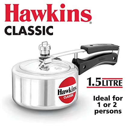 Hawkins Classic CL15 1.5-Liter New Improved Aluminum Pressure Cooker, Small, Silver