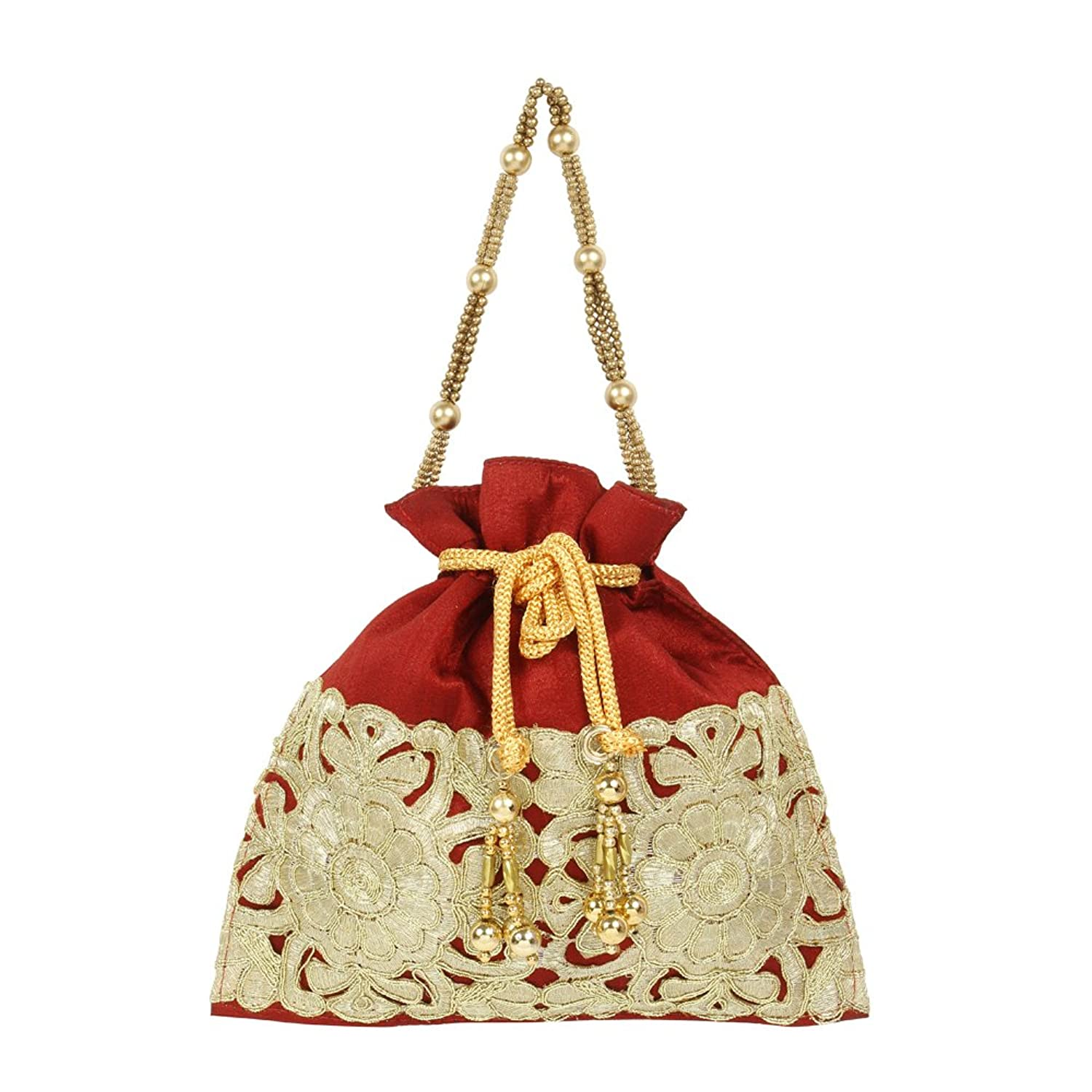 Vintage & Retro Handbags, Purses, Wallets, Bags Purse Collection Maroon Colour Beautiful Drawstring Potli Purse For Womens $14.00 AT vintagedancer.com