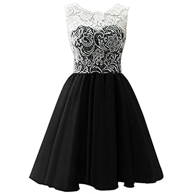 7a469fd6032f Star Flower Big Girls Short Tulle Prom Dress Bridesmaid Homecoming Gown  with Lace (6,