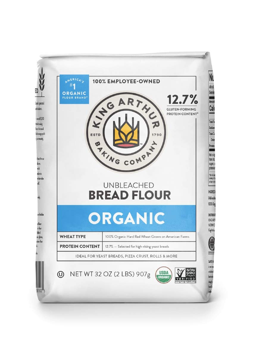 King Arthur, 100% Organic Unbleached Bread Flour, Non-GMO Project Verified, No Preservatives, 2 Pounds (Pack of 12)