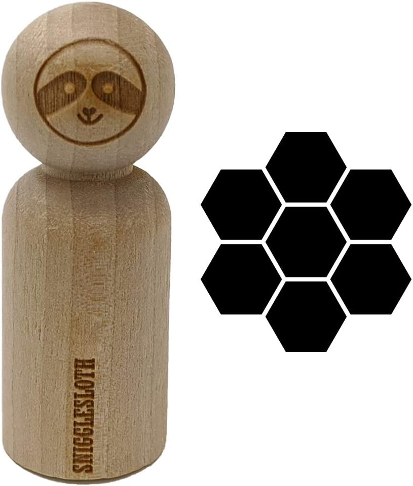 3//4 Inch Small Bee Honeycomb Solid Rubber Stamp for Stamping Crafting Planners
