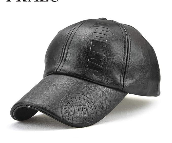 daa89438002 Lamitu Basketball Hat Fall Winter Men Leather hat Cap Casual Moto Snapback  hat Men s Baseball Cap