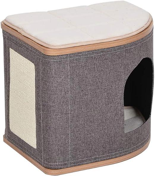 Catry - Cama de madera para gatos con fibra de yute en forma de abanico para cualquier tamaño: Amazon.es: Productos para mascotas