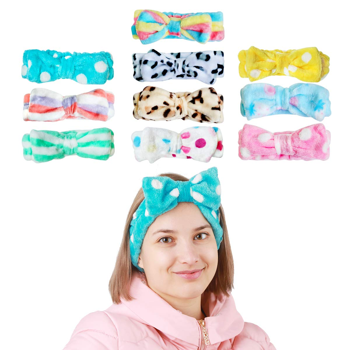 Facai Bow Hair Band,10 Pack Bowknot Cosmetic Makeup Headband Shower Spa Headband Party Running Sports Elastic Soft Fleece Cosmetic Hairbands Face Wash Headbands for Women Girls