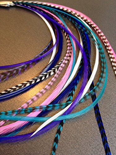 20 Hair Feathers and Beads, 100% Real Rooster Feather Hair Extensions, Long Grizzly, Blue, Pink, Cool Girl