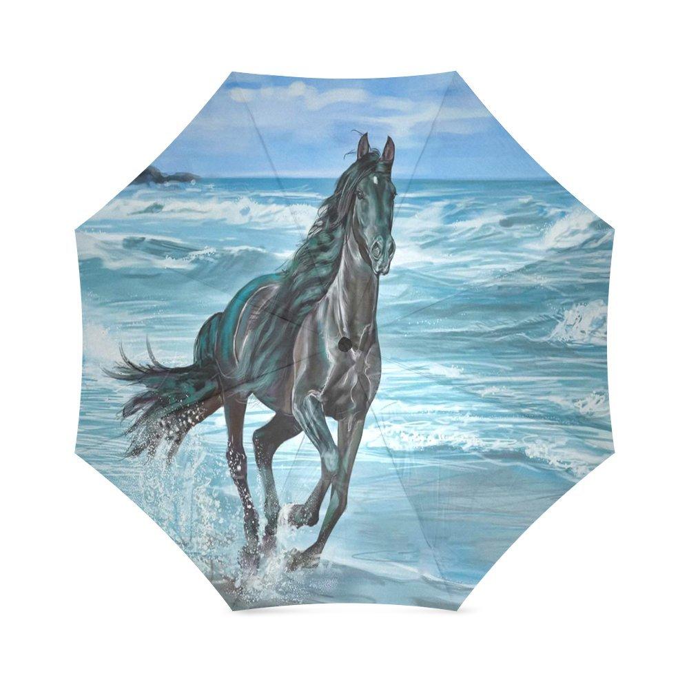 a983e51e2406 chic Custom Horses Running Compact Travel Windproof Rainproof ...