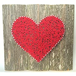 Large Red string art wooden heart sign. A unique gift for Weddings, Anniversaries ,Birthdays, Valentine's Day, Christmas, new baby, house warming and just because.