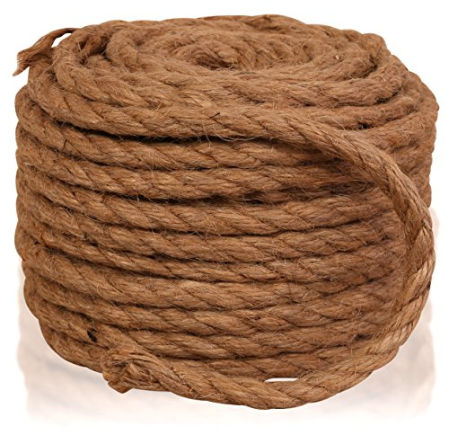 Twisted Sisal Rope, 1/4-Inch by 50-Feet, All Natural Sisal Fiber Hemp Rope Cord, Cat Scratching Post Replacement, for Arts Crafts, DIY, Decoration, Gift Wrapping, and Burlap Potato Sacks. ()