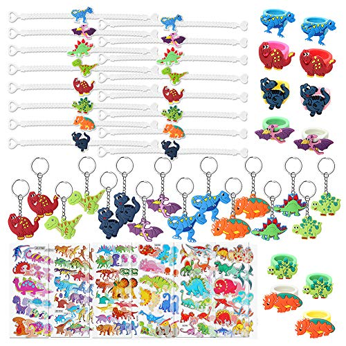 56 Pcs Dinosaur Party Favors Dinosaur Keychains Stickers Rings Bracelets Toys Prizes Gift Carnivals for Kids Boys Birthday Party Favor Supplies Goodie Bag Fillers ()
