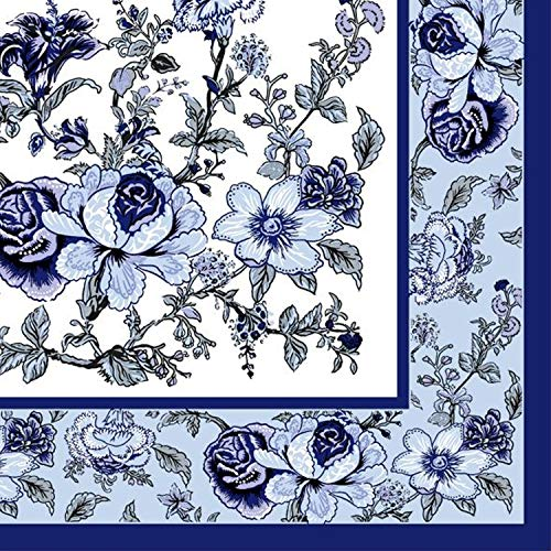 - Disposable Paper Blue Bountiful Blossoms Lunch Napkins, Wedding, Bridal Shower, Birthday Party, Decoration Supplies, Holidays, Folded Size 6.5 x 6.5 Inches, 2-Ply, 20 ct