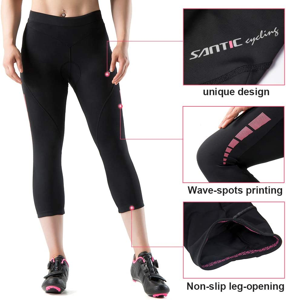 Santic Culote Bicicleta Mujer 3//4 Culotes Ciclismo Culote MTB Pantalon Ciclista Mujer con Badana