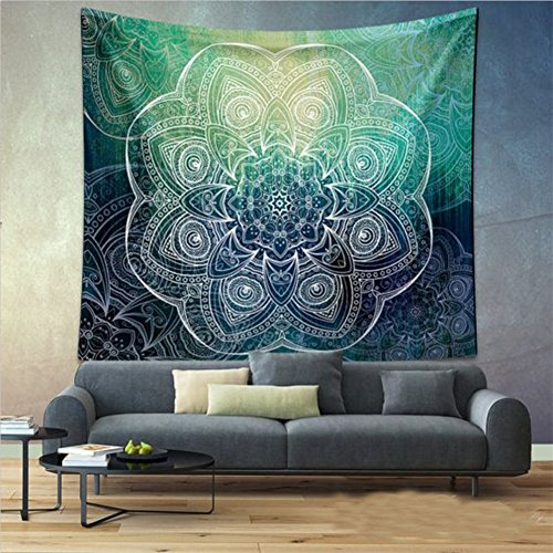 Boho 203CM 153CM Psychedelic Black Green Circle Floral Tapestry Hippy Mandala Gypsy Wall Hanging Sheet Coverlet Picnic blanket Bedspread Curtain Decor Table Couch Cover Beach Yoga Throw L, - Floral Blanket Green