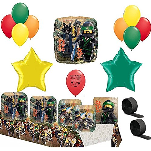Combined Brand Lego Ninjago Party Supplies and Balloon Decoration Bundle
