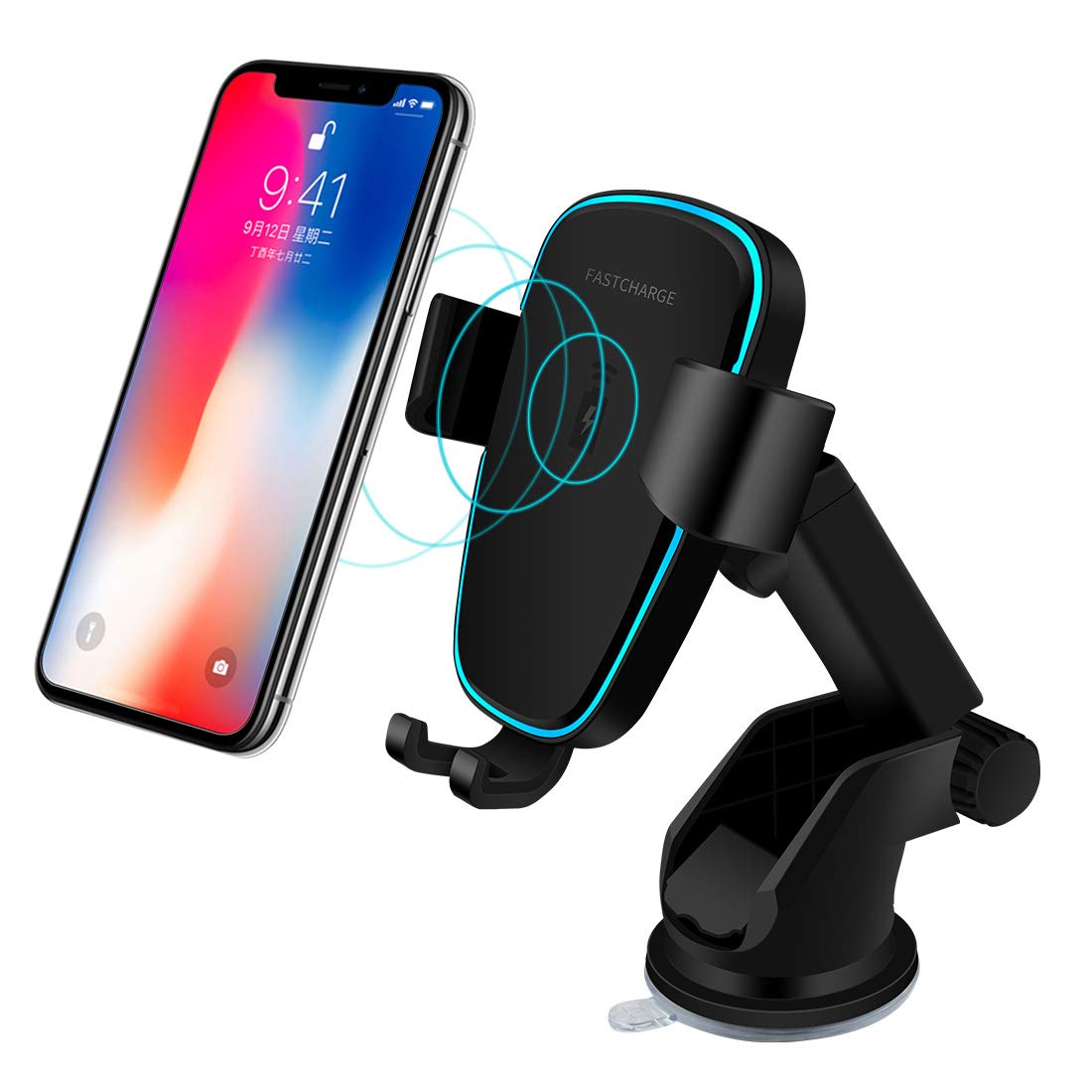 Wireless Car Charger, Fast 10W Wireless Charging Car Mount Gravity Linkage Air Vent Phone Holder for iPhone X/8/8 Plus, Samsung Galaxy Note 8/5,S8+,S7,S6 Edge+,Compatible with All Qi-Enabled (Black)