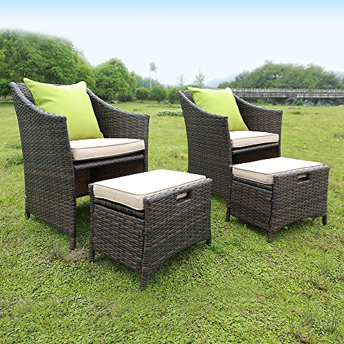 Wicker Patio Chat Set Outdoor Furniture 5 Piece, Rattan Dining Bistro Set Home Garden with Cushion, Pillow and Ottoman (Wicker Conversation Set)