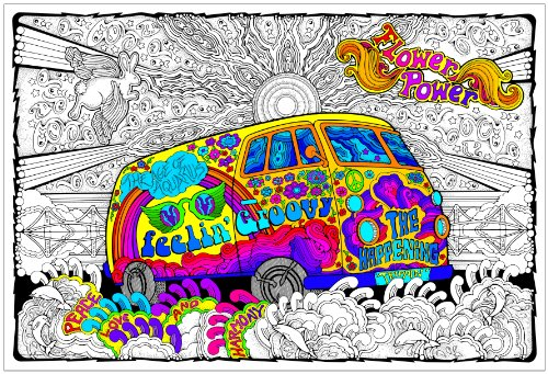 Stuff2Color Love Bus - Giant 22 X 32.5 Inch Line Art Coloring Poster (Great for Family Time, Adults, Kids, Classrooms, Care Facilities and Group Activities - Includes Reusable Rigid Storage Tube)