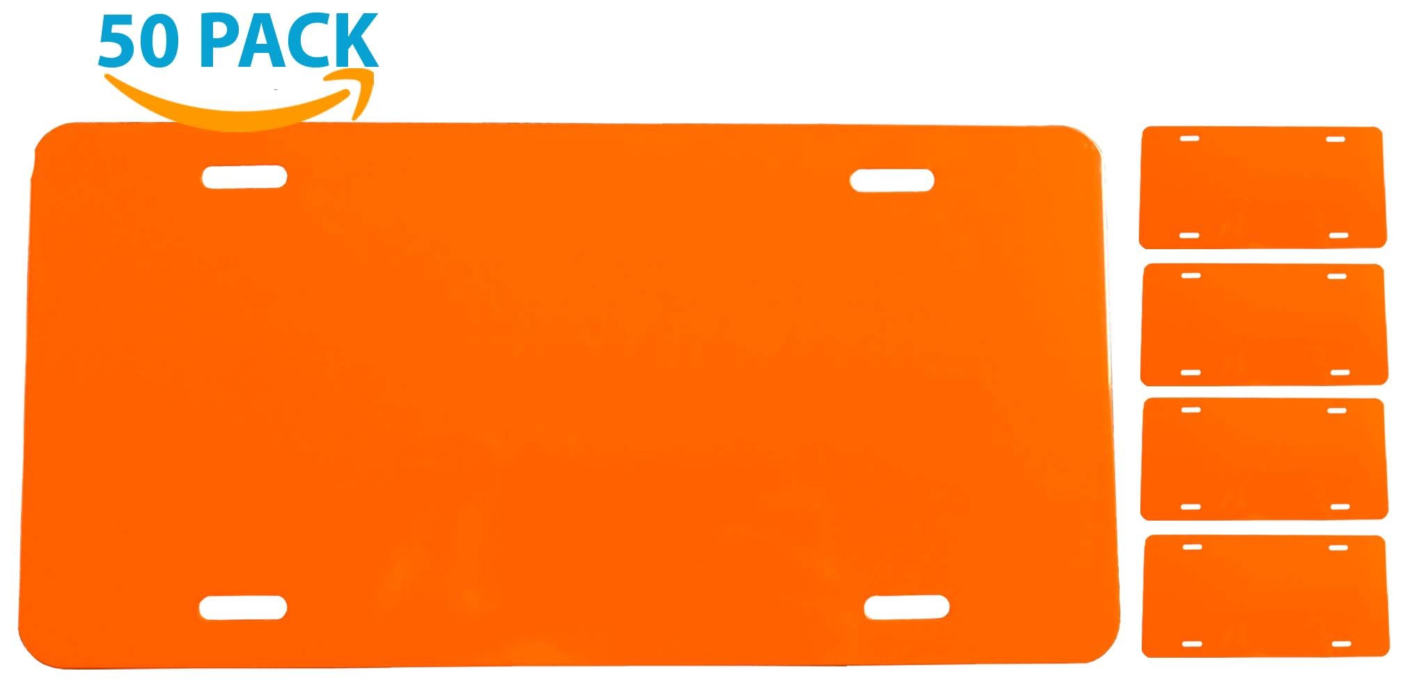 BRITE ORANGE - License Plate Blank - Aluminum - 0.040 Thickness/1mm - Standard US/Canada Size 12x6 (50-PACK)