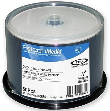 FTI 50 Falcon Media DVD-R Smart Guard Inkjet White Printable (16x) 4.7GB 1 x 50 Pack On Spindle, [Importado de UK]: Amazon.es: Electrónica