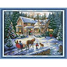 YEESAM ART New Cross Stitch Kits Advanced Patterns for Beginners Kids Adults - Return From Christmas 11 CT Stamped 69×54 cm - DIY Needlework Wedding Christmas Gifts