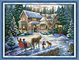 pattern maker for cross stitch - YEESAM ART New Cross Stitch Kits Advanced Patterns for Beginners Kids Adults - Return From Christmas 11 CT Stamped 69×54 cm - DIY Needlework Wedding Christmas Gifts
