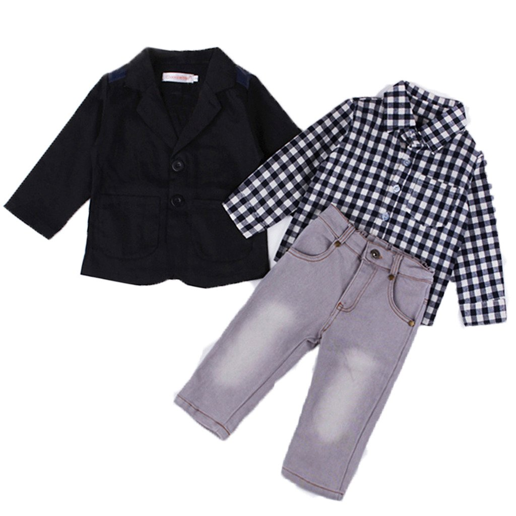 Kids Showtime Little Boys Baby 3pcs Clothing Set Outfits Gentlmen Coat Shirt Jeans Pants(3)