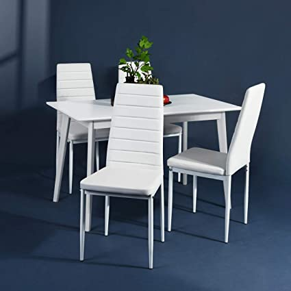 Image Unavailable. Image not available for. Color Aingoo White Kitchen Chairs Set ... & Amazon.com: Aingoo White Kitchen Chairs Set of 4 Dining Chair Black ...
