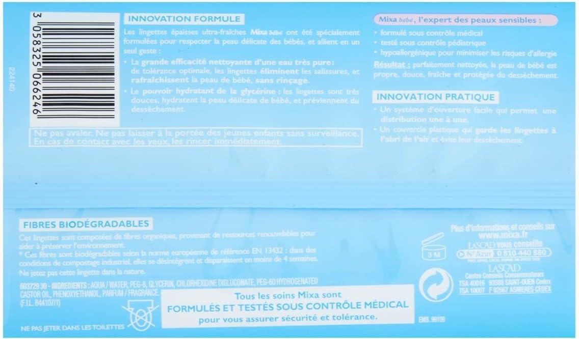 Lingettes Nettoyantes et Physiologiques pour Nourrissons /& B/éb/é 216 Lingettes Mixa B/éb/é 3 lots de 72