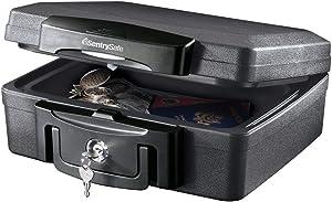 SentrySafe H0100 Fireproof Waterproof Box with Key Lock, 0.17 Cubic Feet Black [New Improved Version]