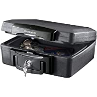 Fireproof Waterproof Box with Key Lock, 0.17 Cubic Feet, Black - New