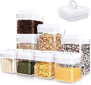 Kitsure Airtight Food Storage Container Set - 8 PC Set - Pantry Organization and Storage, Kitchen Canisters with Lids, Leak-Proof Pantry Storage Containers with Food-Grade Material & Stackable Design