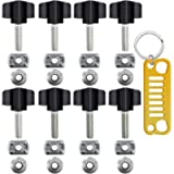 Set of 8 Thumb Screws with Keychain, FineGood Heavy Duty Hurricane Styled Thumb Screws for All 1995-2016 Wrangler YJ TJ…