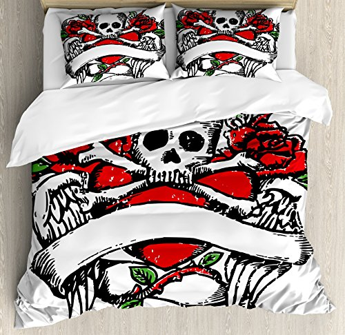 Rose Duvet Cover Set Queen Size by Ambesonne, Sketchy Revival Skull Figure Big Red Heart Crossed Bones Wings and Leaves, Decorative 3 Piece Bedding Set with 2 Pillow Shams, Black Vermilion Green Red Skull Figure Set
