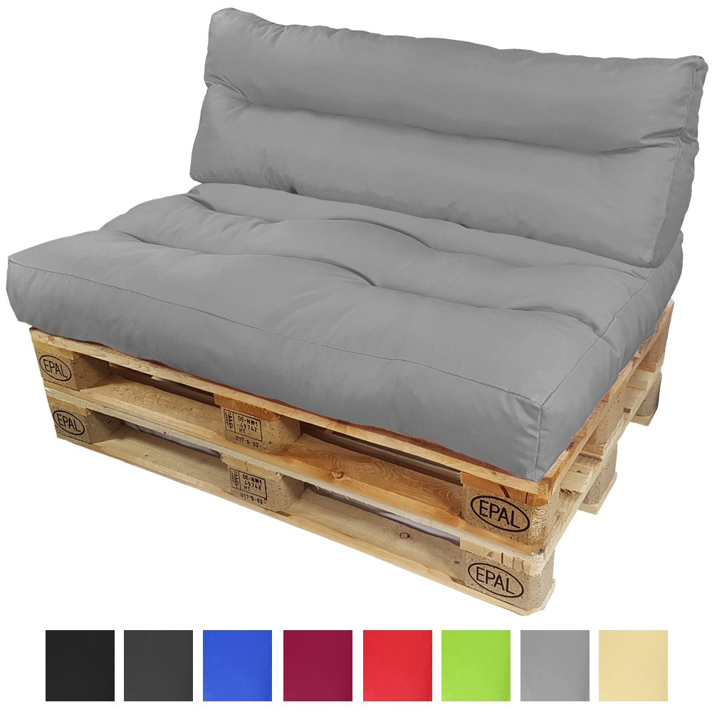 Set di 2 pezzi Cuscini Lounge per divano in palet di proheim: 1x Un cuscino di seduta + 1x Un cuscino schienale lungo - Lui creerà un eleganti divani in pallet interno ed esterno, Colore:Blu