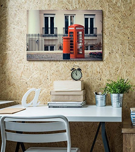 Vintage Retro Style Red Telephone Booth and Mail Box in Street in London Wall Decor