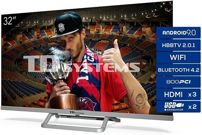 TD Systems Televisor Smart TV Android 9.0 y HBBTV, 800 PCI Hz, 3X HDMI, 2X USB. DVB-T2/C/S2, Modo Hotel: Amazon.es: Electrónica
