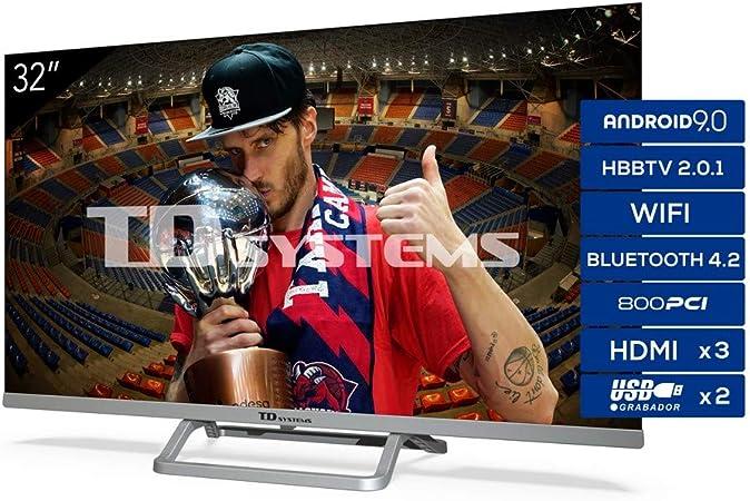 TD Systems Televisor Smart TV Android 9.0 y HBBTV, 800 PCI Hz, 3X HDMI, 2X USB. DVB-T2/C/S2, Modo Hotel - K32DLX11HS [Clase de eficiencia energética A+] 32 Pulgadas: Amazon.es: Electrónica