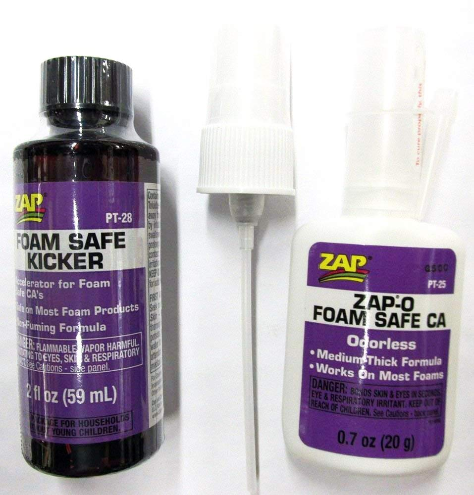 Zap Foam Safe Bundle: Zap-o Ca Pt-25 (.7 Oz) & Kicker Pt-28 (2 Oz) Pacer Mfr.
