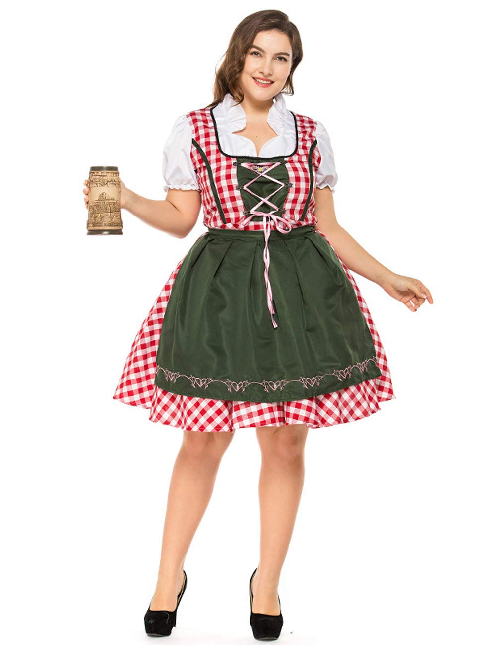 Hamour Womens German Oktoberfest Costume Plus Size Beer Maid Dirndl Dress Red L