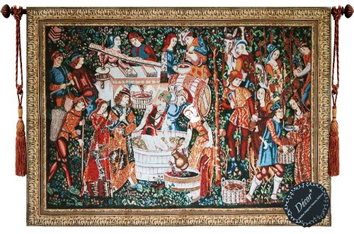 Grape Tapestry (Beautiful the Grape Harvest Fine Medieval Tapestry Jacquard Woven Wall Hanging Art Decor)