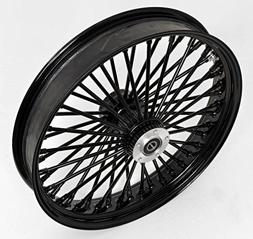 "21x3.5"" ALL Black Mammoth 48 Fat Spokes Front Wheel for Harley-Davidson Dual Disc"