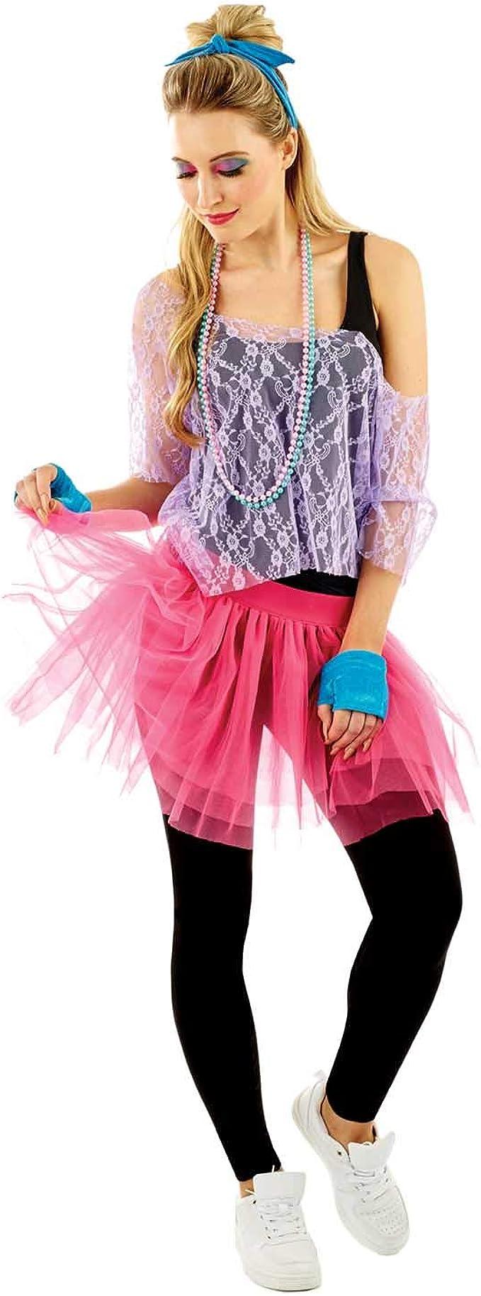 Amazon.com: Disfraz de neón para mujer de los años 80, para ...